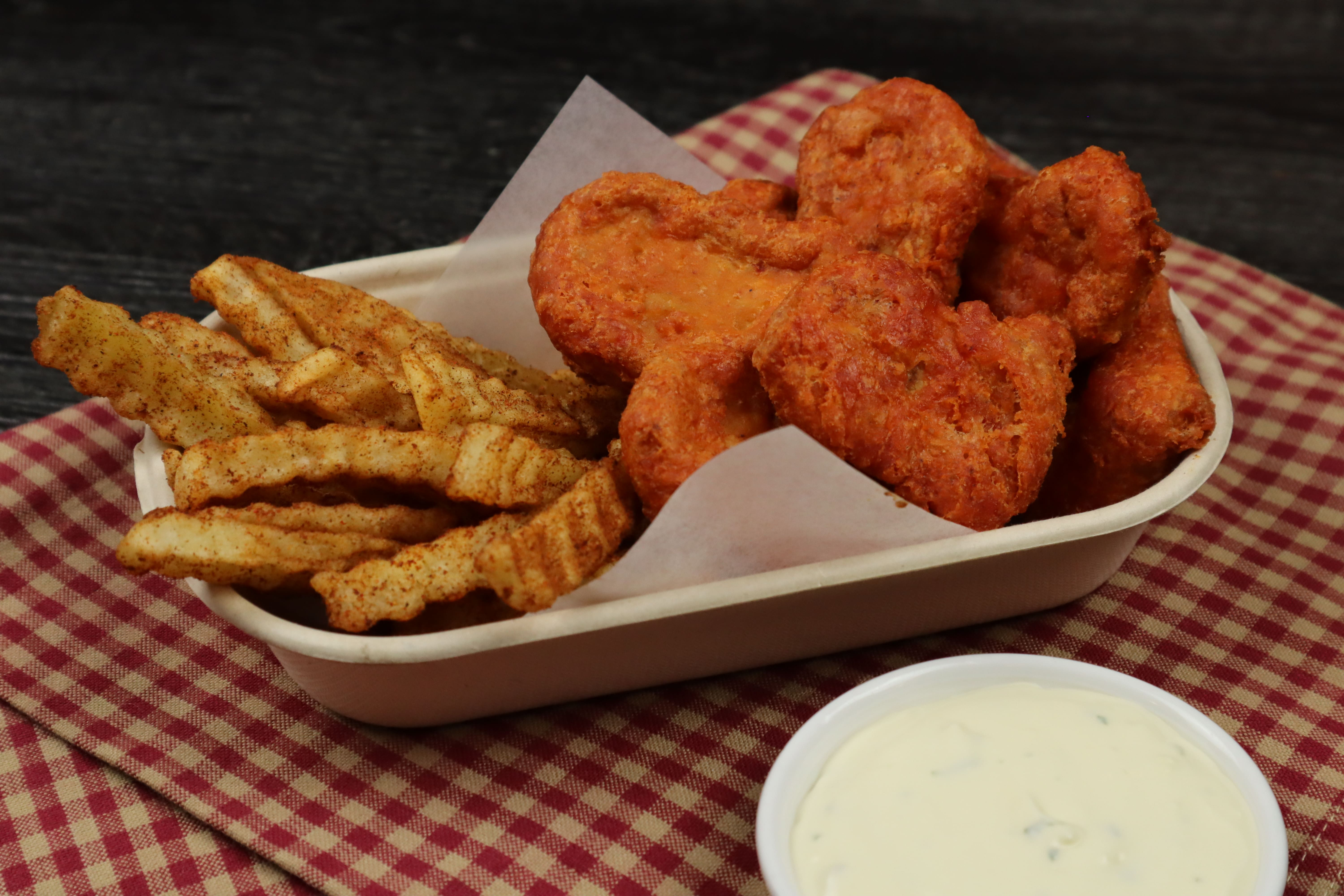 Spicy Chicken Nuggets and BBQ Fries